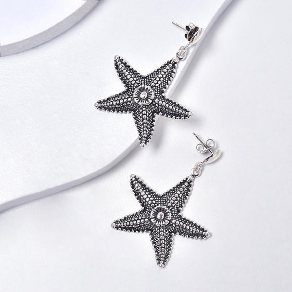 Starfish Earrings in Aged White Gold Filled