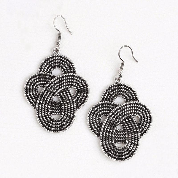 Arabic Earrings in Aged White Gold Filled