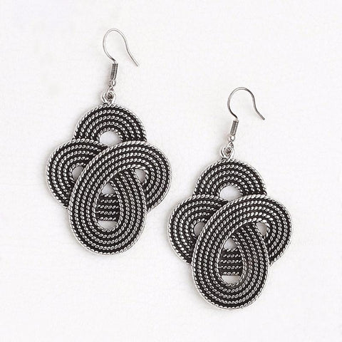 White Gold Filled Drop Earrings for Women, Dangling Boho Earrings
