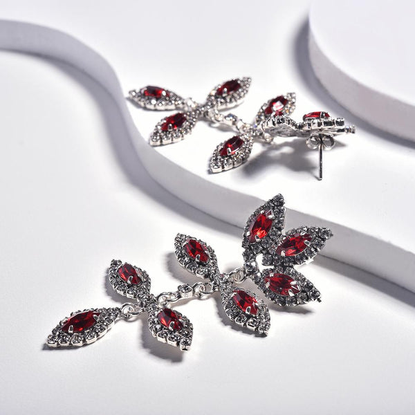 Red Earrings in Aged White Gold Plated with Cubic Zirconia Gemstones