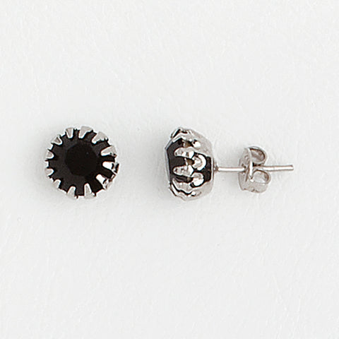 Black Stud Earrings in Aged White Gold Filled