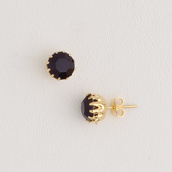 Stud Earrings in Yellow Gold Filled with Black Gemstone