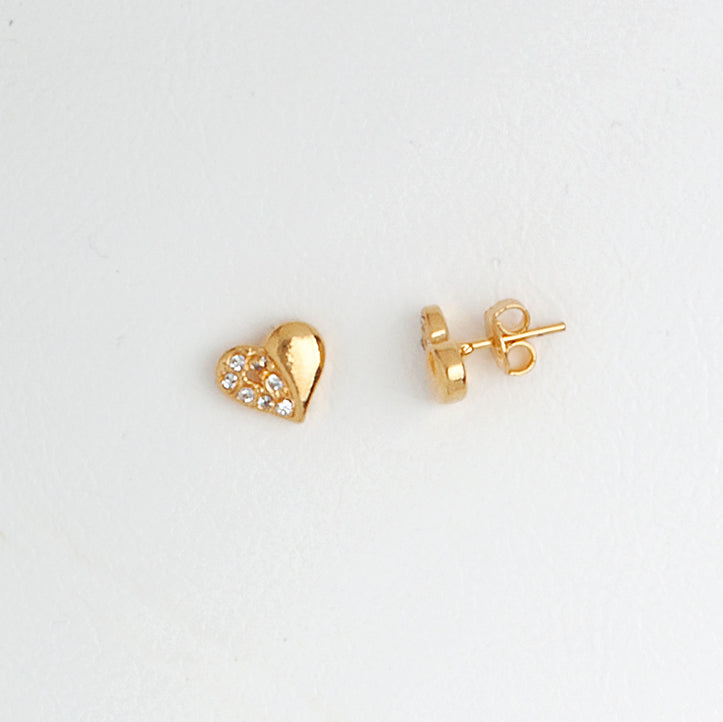 Heart Earrings in Gold Color with Gemstones