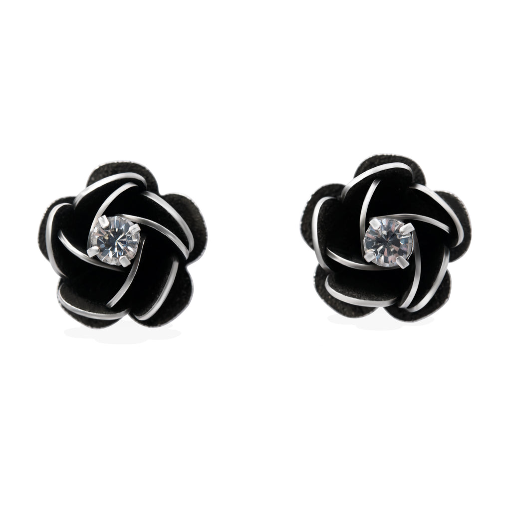 Rose Stud Earrings for Women with Round Cubic Zirconia in White Gold