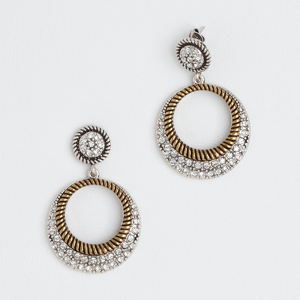 Circle Earrings, Aged Yellow and White Gold Filled Earrings, Cubic Zirconia Gemstones