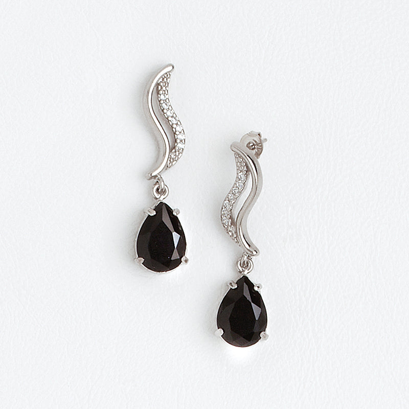 Black Dangle Earrings in Aged White Gold Filled with Zircon Gemstones