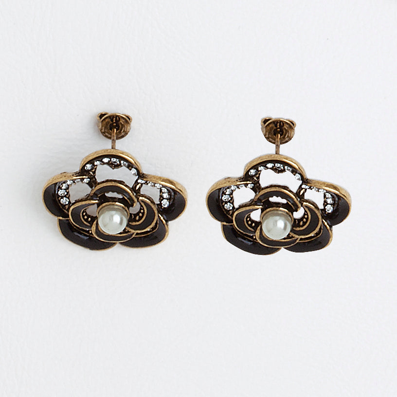 Roses Earrings in Aged Yellow Gold Filled with Black Enamel, Gemstones & Pearls
