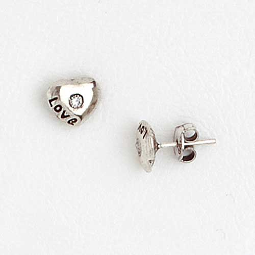 Love Earrings in Aged White Gold Plated with Gemstones