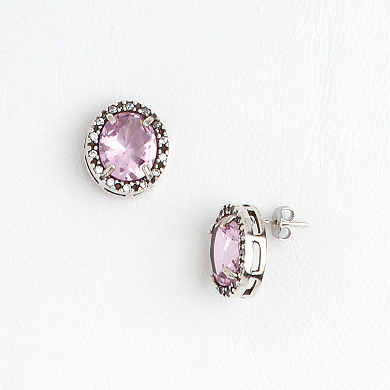 Stud Earrings Aged White Gold Filled Rose & Clear Gemstones