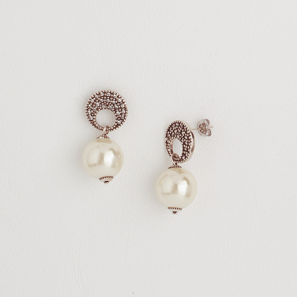 Classic Dangle Earrings for Women with Pearls and Cubic Zirconia Gemstones