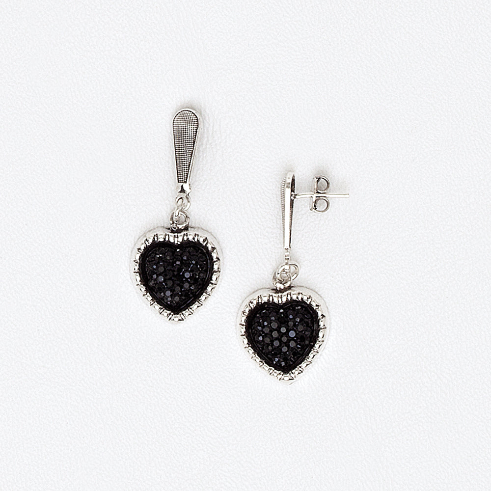 Hearts Druzy Earrings in White Gold Filled