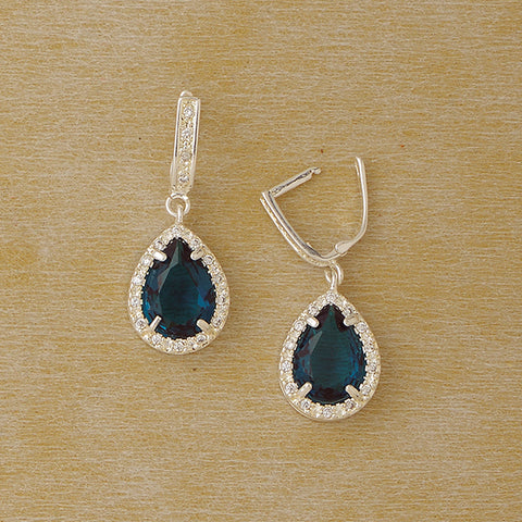 Zircon Drop Earrings in Plated Silver with Gemstones