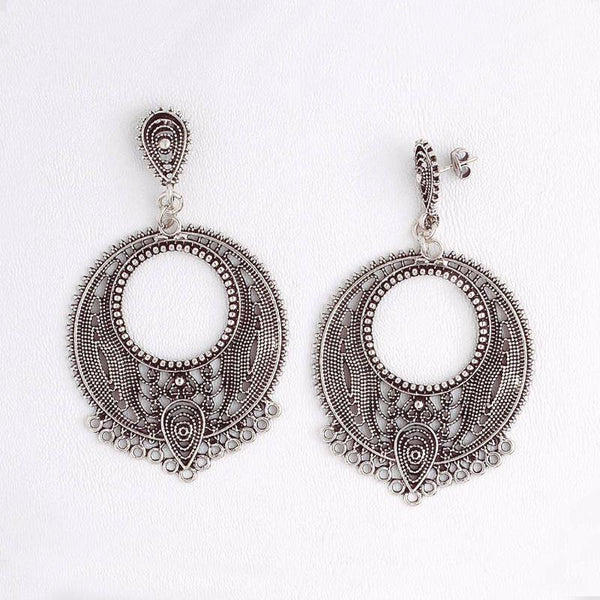 Arabic Dangle Earrings in Aged White Gold Filled