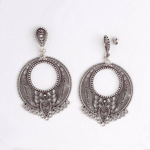 White Gold Filled Dangling Earrings for Women, Round Filigree Boho Earrings
