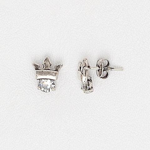 Crown Earrings for Women and Girls in White Gold Filled with Cubic Zirconia Gemstone