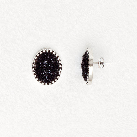 Black Stud Earrings for Women in Aged White Gold Filled and Druzy Gemstone