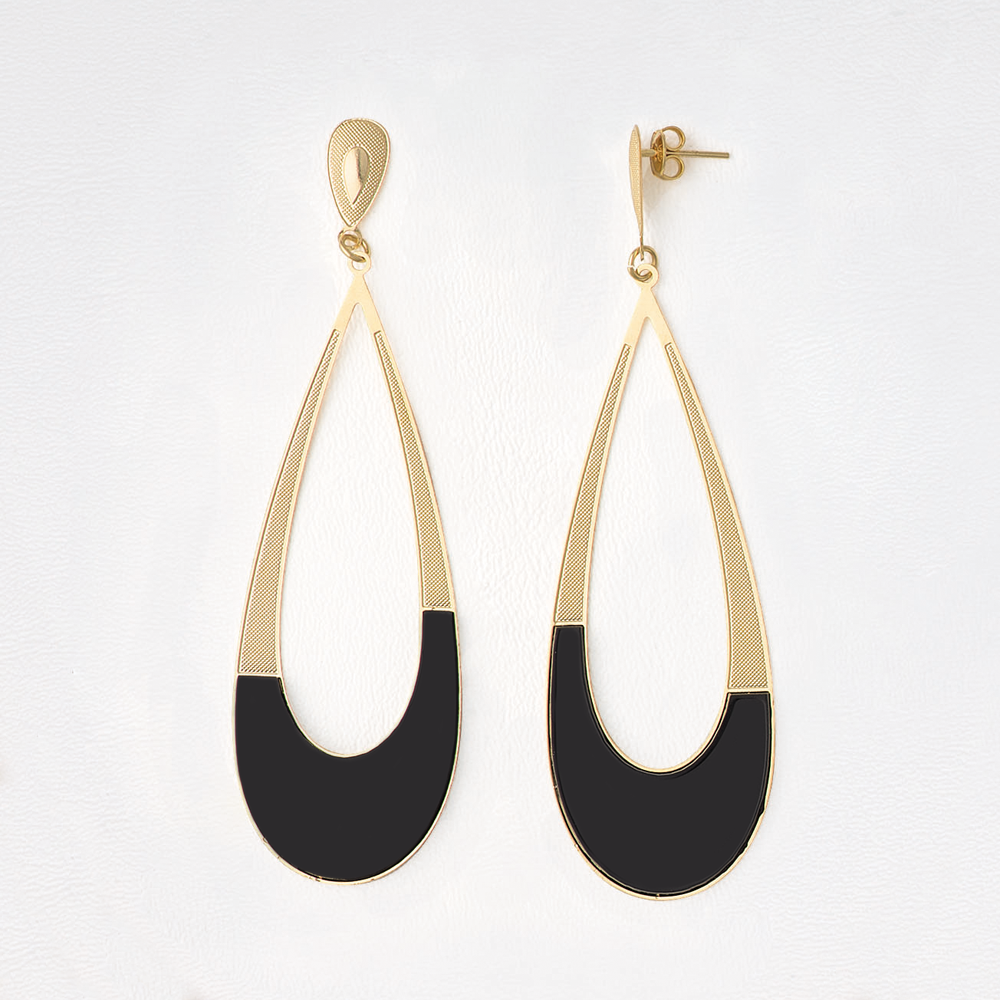 Dangle Earrings in Yellow Gold Filled with Black Enamel