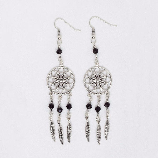 Dreamcatcher Earrings for Women and girls with Black Glass Beads, 14k White Gold Boho Jewelry
