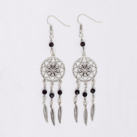 Dream Catcher Earrings in Aged White Gold Filled with Black Beads