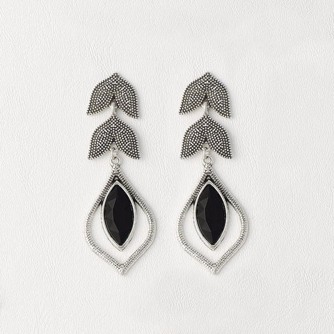 Black Earring in White Gold Filled with Zircon Gemstones