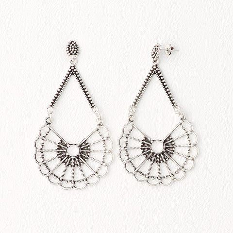 Dangling Earrings for Women in Aged White Gold Filled with Cubic Zirconia