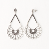 Fan Earrings in Aged White Gold Filled