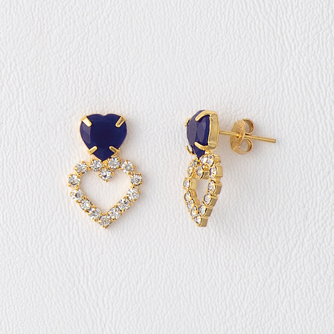 Blue Earrings in Gold Color Metal with Gemstones