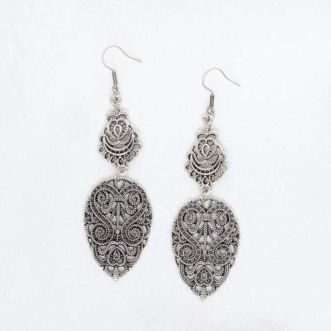 White Gold Filled Drop Earrings for Women, Large Filigree Boho Earrings