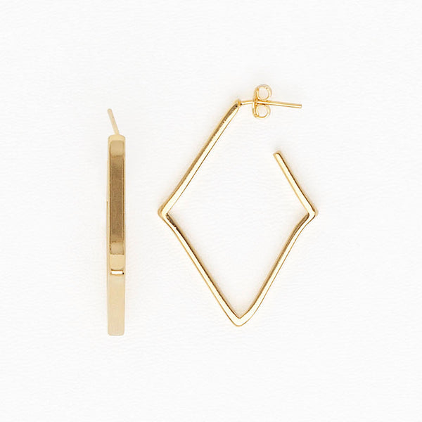 Geometric Yellow Gold Dangle Earrings for Women and Girls, Minimalist Jewelry