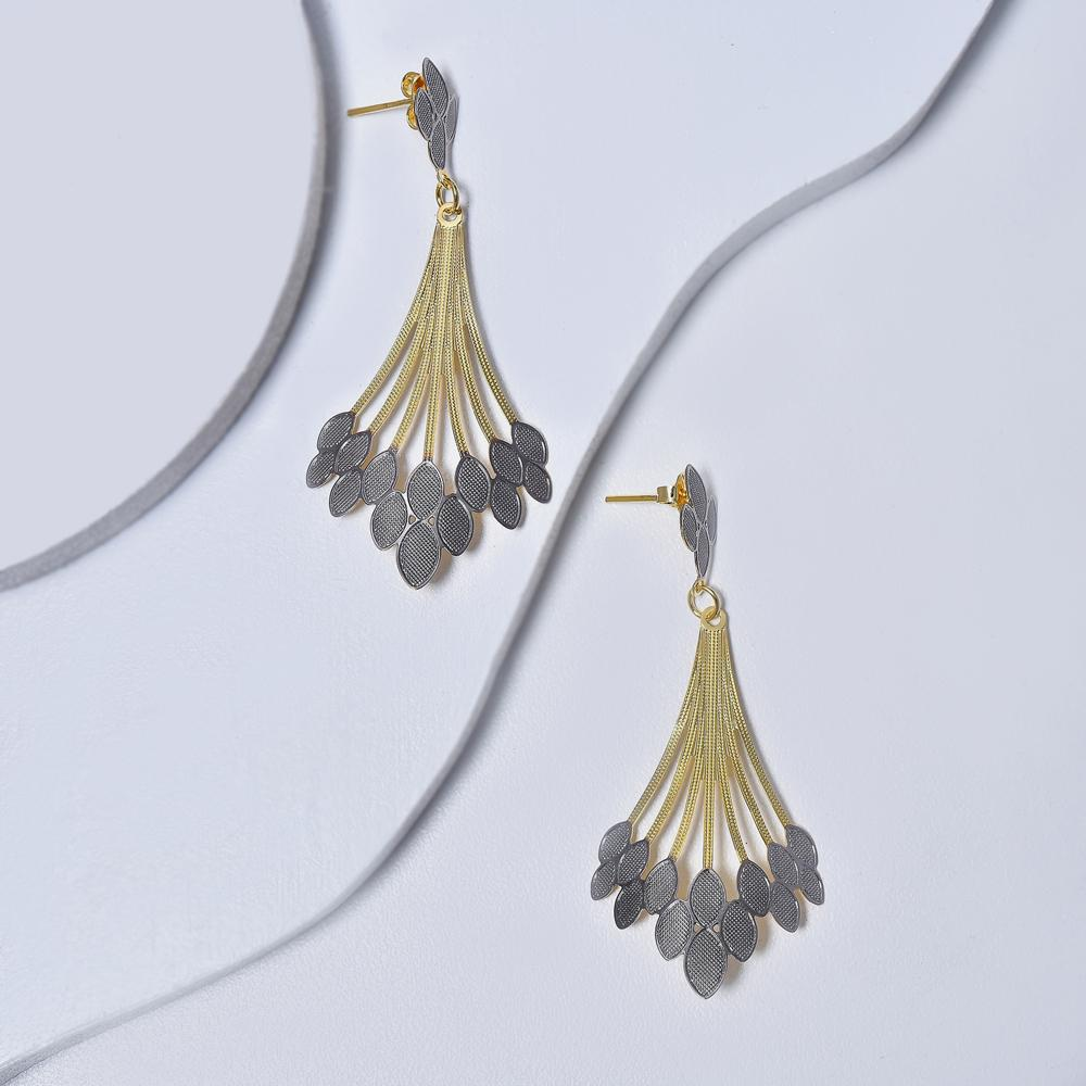 Dangle Earrings in Yellow Gold Plated with Silver Enamel