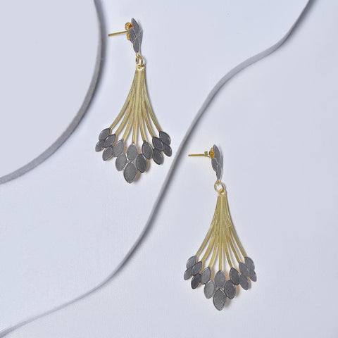 Dangle Earrings in Yellow Gold Filled with Silver Enamel