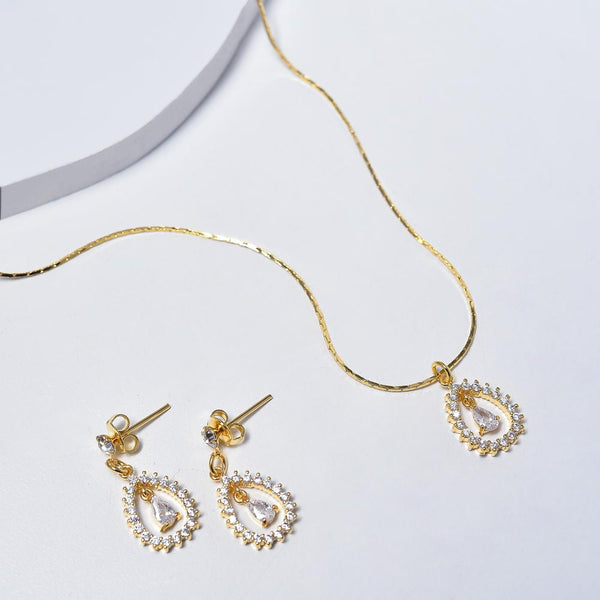 Drop Necklace & Earrings in Yellow Gold Plated with Cubic Zirconia Gemstones