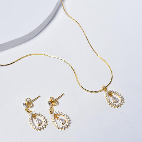 Drop Necklace & Earrings in Yellow Gold Filled with Cubic Zirconia Gemstones