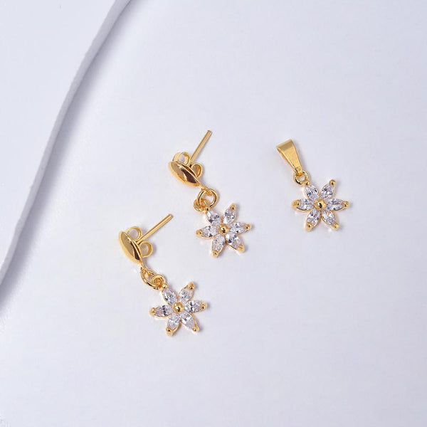 Flowers Earrings & Pendant in Yellow Gold Plated with Cubic Zirconia Gemstones