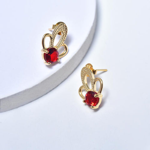 Stud Earrings in Yellow Gold Plated with Red Cubic Zirconia Gemstones