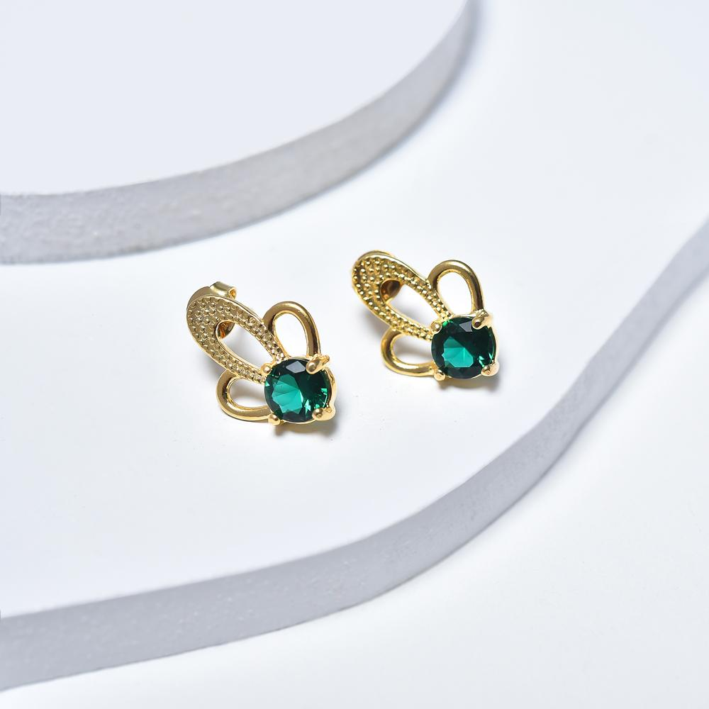 Stud Earrings in Yellow Gold Plated with Green Cubic Zirconia Gemstones