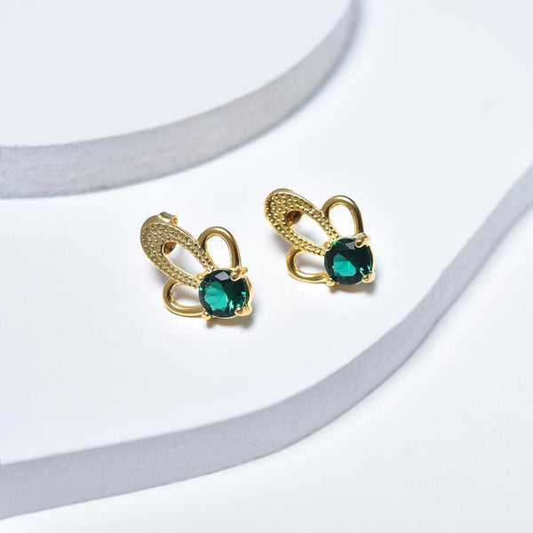 Stud Earrings in Yellow Gold Filled with Green Cubic Zirconia Gemstones