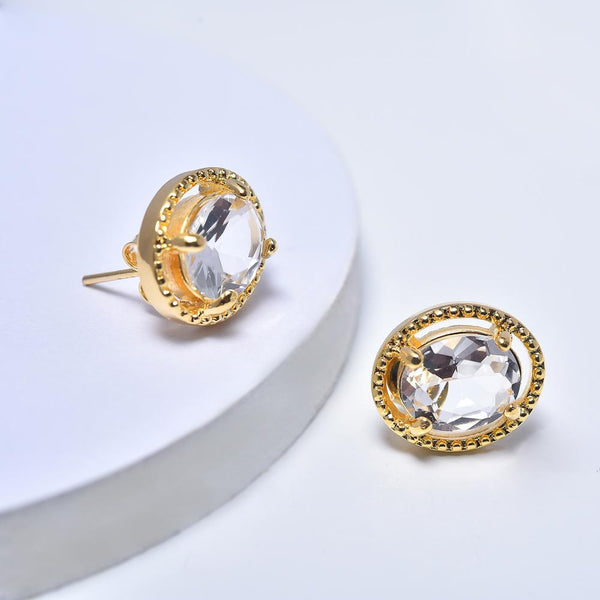 Oval Stud Earrings for Women in Yellow Gold Filled with White Cubic Zirconia