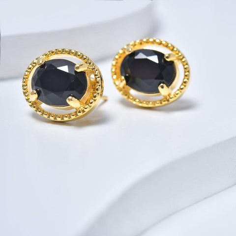 Oval Earrings in Yellow Gold Plated with Black Cubic Zirconia