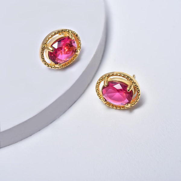 Oval Earrings in Yellow Gold Plated with Fuchsia Cubic Zirconia