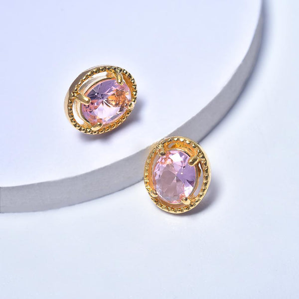 Oval Earrings in Yellow Gold Plated with Rose Cubic Zirconia
