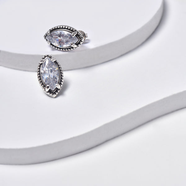 White Earrings in White Gold Filled with Cubic Zirconia Gemstones