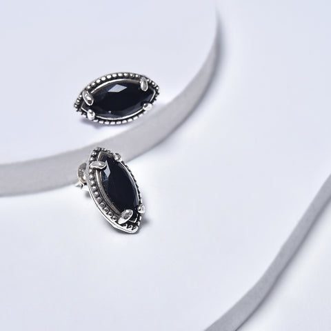 Black Earrings in White Gold Plated with Cubic Zirconia Gemstones