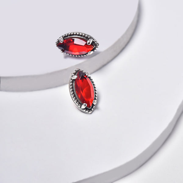 Red Earrings in White Gold Plated with Cubic Zirconia Gemstones