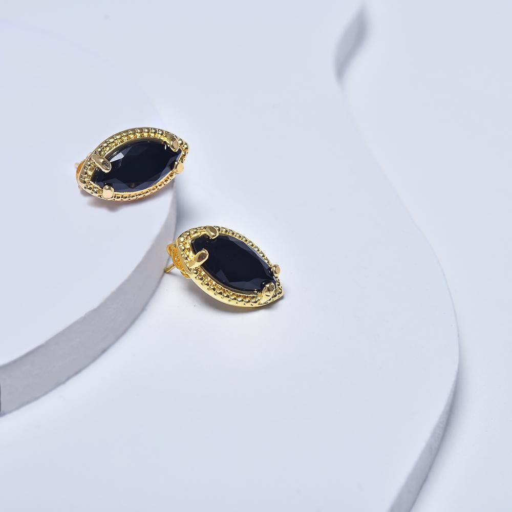 Black Earrings in Yellow Gold Filled with Cubic Zirconia Gemstones