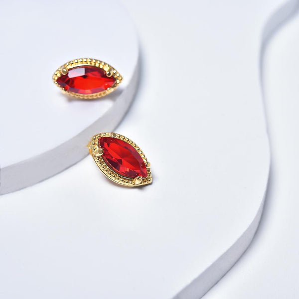Red Earrings in Yellow Gold Filled with Cubic Zirconia Gemstones