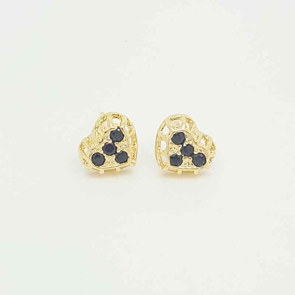 Heart Earrings in Yellow Gold Filled with Gemstones
