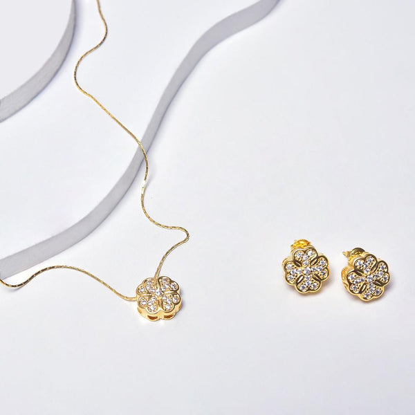 Flower Earrings & Necklace in Yellow Gold Plated with Gemstones
