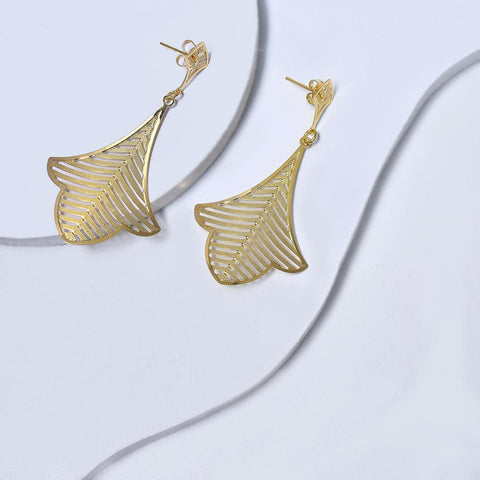Leaf Earrings in Yellow Gold Filled