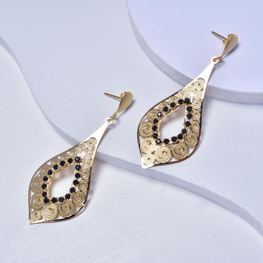 Dangle Earrings in Yellow Gold Filled with Black Cubic Zirconia Gemtones